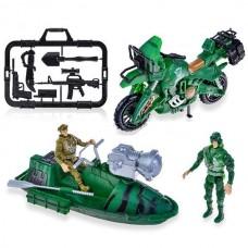 Военный катер + мотоцикл + два солдата + набор оружия