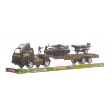 Военный автотрейлер с техникой и солдатами