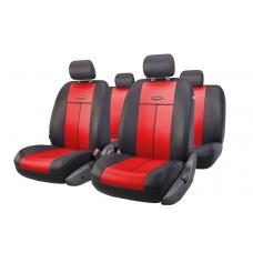 Чехлы на сиденья передние и задние Autoprofi TT series (черный/красный)