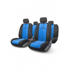 Чехлы на сиденья передние и задние Autoprofi TT-V series (черный/синий)