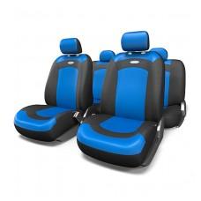 Чехлы на сиденья передние и задние Autoprofi Extreme (черный/синий) велюр + сетка